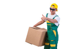 The young man moving boxes isolated on white Royalty Free Stock Photos