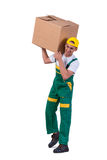 The young man moving boxes isolated on white Royalty Free Stock Images