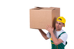 The young man moving boxes isolated on white Royalty Free Stock Image