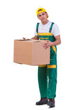 The young man moving boxes isolated on white Royalty Free Stock Photo