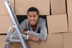 Young man on moving day Royalty Free Stock Photography