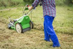 Young man mowing the lawn with a lawnmower Royalty Free Stock Photo