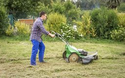 Young man mowing the lawn with a lawnmower Stock Image