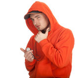 Young man with MP3 Stock Photo