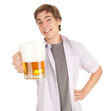 Young man with mug of beer Royalty Free Stock Photo