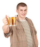 Young man with mug of beer Stock Photography