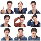 Young man multiple expressions Royalty Free Stock Photo