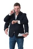 Young man multitasking Stock Photo