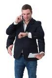 Young man multitasking Stock Photo