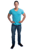 Young man muscular standing full body portrait smiling people mu Stock Photos