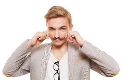 Young man with mustache isolated at white Royalty Free Stock Photo