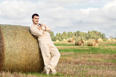 Young man in national rustic costume Stock Photography