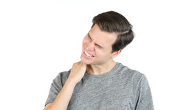 Young man with neck pain, Isolated White Background. High quality Royalty Free Stock Photography