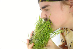 Young man nipping green grass Royalty Free Stock Photo