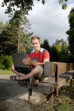 Young man with notebook Royalty Free Stock Photography