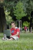 Young man with notebook Stock Photos