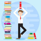 Young man, office worker, student, businessman costs in yoga pose.. Young man, office worker, student, pupil, businessman costs in yoga pose. Holds book Royalty Free Stock Photography