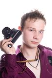 The young man with old camera. Isolated on white Stock Photos