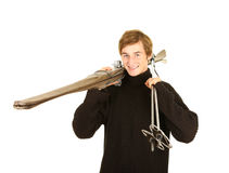 Young  man  with old wooden ski Stock Photography