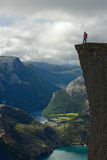 Young Man On Preikestolen Stock Images