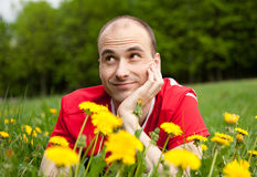 Young Man On The Grass Royalty Free Stock Photo