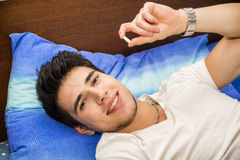 Young man one taking medicine pill Royalty Free Stock Images