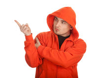 Young man in orange sweatshirt Royalty Free Stock Photos