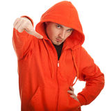 Young man in orange sweatshirt Royalty Free Stock Photo
