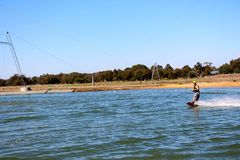 Young man out for a wakeboard at the Perth wake park Royalty Free Stock Image