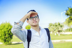 Young man outdoor looking out. Stock Photography