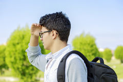 Young man outdoor looking out. Royalty Free Stock Photos