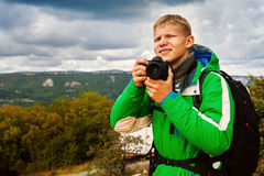 Young man outdoor photographer Stock Images