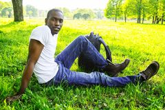 Young man outdoors Stock Images