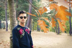 Young man outdoors. In autumn stock photography