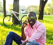 Young man outdoors Royalty Free Stock Image