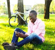 Young man outdoors Stock Image