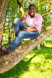 Young man outdoors. Young smiling african american sitting on a tree in park and calling with mobile phone Stock Photography