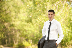 Young man outside. Portrait of an attractive young man outside Stock Photos