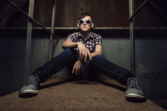 Young man over industrial background Stock Photo
