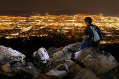 Young man overlooking Salt Lake City royalty free stock image