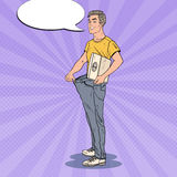 Young Man in Oversized Jeans with Weights. Dieting Concept. Pop Art illustration Royalty Free Stock Photos