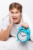 Young man overslept Stock Photos