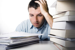 Young Man Overwhelmed and frustrated Royalty Free Stock Photo