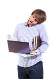 Young man overwhelmed with tasks Royalty Free Stock Photos