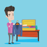 Young Man Packing His Suitcase Vector Illustration Royalty Free Stock Image