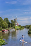Young man on a paddle board in Greetsiel Stock Image