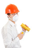 Young Man with Paint Roller Stock Images