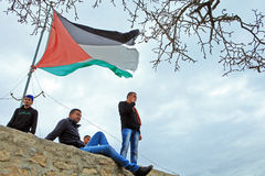Young man and Palestine flag Royalty Free Stock Image