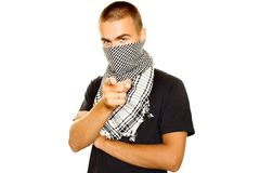 Young man in a Palestinian scarf Stock Photography