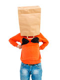 Young man in paper bag on head wearing women's lingerie Royalty Free Stock Photography
